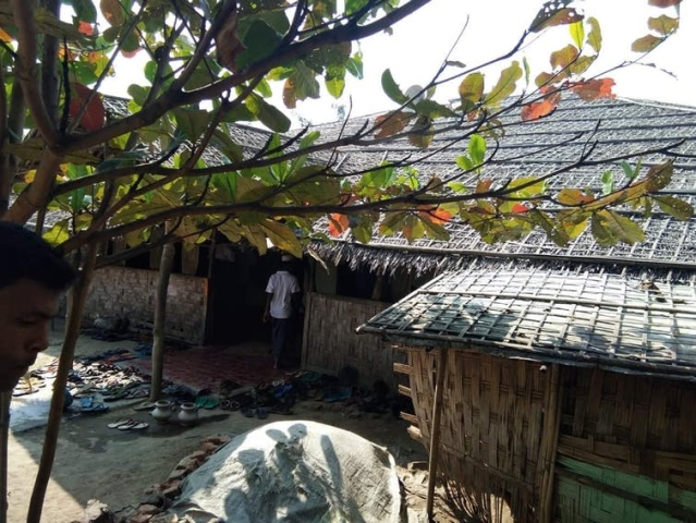 A mosque in one of the Rohingya camps on the outskirts of Sittwe.