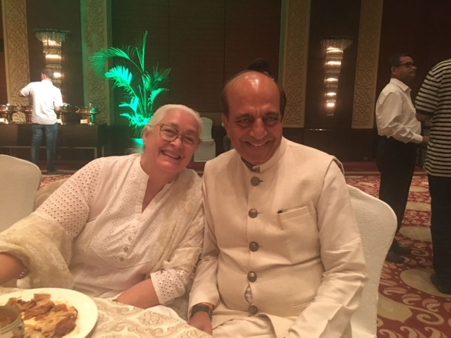Dinesh Trivedi with prominent actress Nafisa Ali.