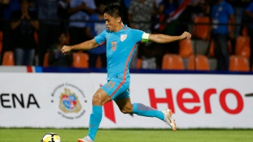 Sunil Chhetri in action during the Intercontinental Cup final.