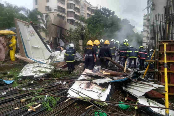 The site where a chartered plane crashed in Mumbai.