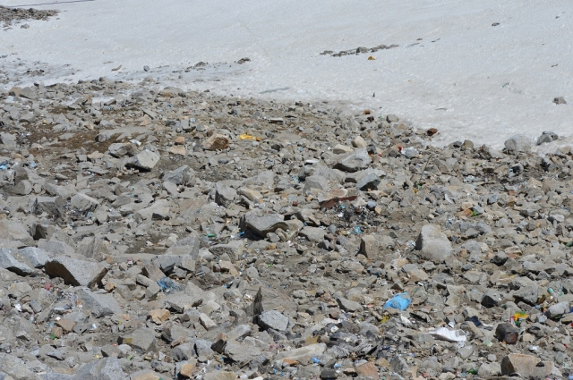 Plastic waste littering a ridge near Khardung La pass, where tourists pass through to Nubra Valley and Pangong Lake.