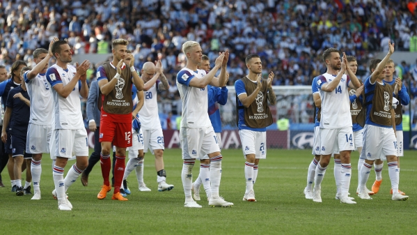 Iceland players applaud after their 1-1 draw against Argentina at the 2018 FIFA World Cup in the Spartak Stadium in Moscow, Russia, Saturday, June 16, 2018.