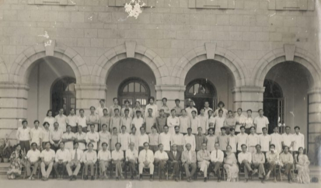 "This photo of the Department of Physics in 1975 with 78 people in it has only three women: ""Miss SS Kulkarni"" on the extreme left, ""Dr Mrs Kumari Santosh"" towards the right, and ""Mrs CR Varalakshmi"" on the extreme right"