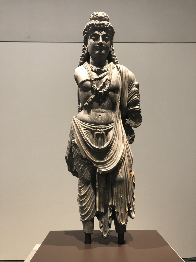 Bodhisattva in the Gandhara style of Kushan Empire, 100-300 CE.