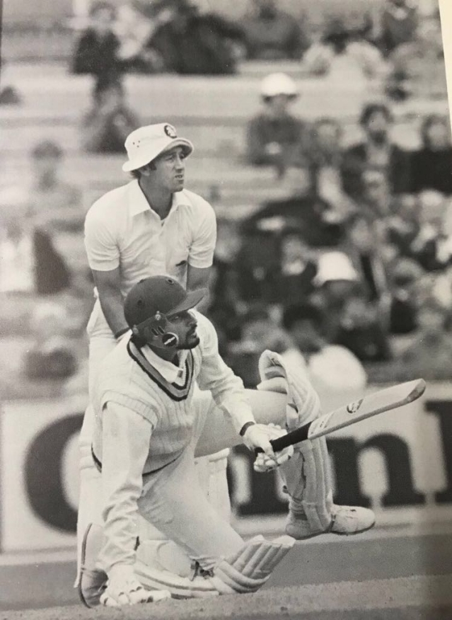 Sandeep Patil in action during a Test match against England.
