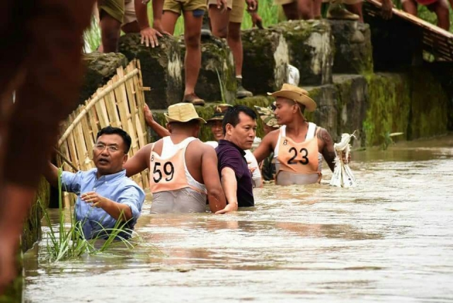 Water resources minister Letpao Haokip with relief team.