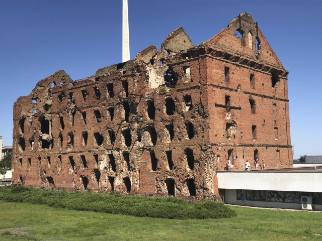 This photo taken on Sunday, June 17, 2018, shows the Panorama Museum in Volgograd, built next to the gutted remains of a ruined mill.