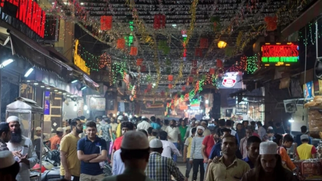 Decorated streets bustling with people during Ramzan opposite Jama Masjid.