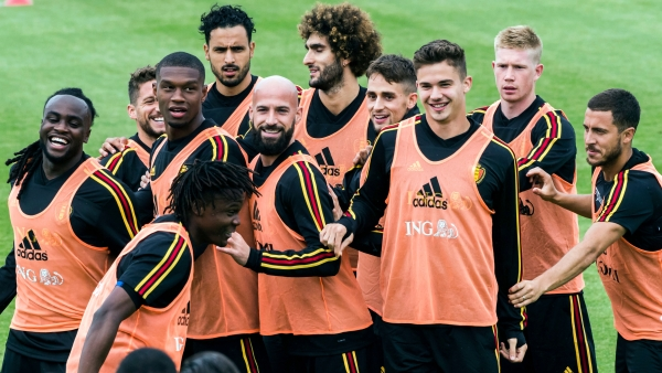Belgium players warm up during a training session at the Belgian Football Center in Tubize, Belgium.