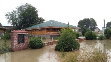 A flooded house in Srinagar