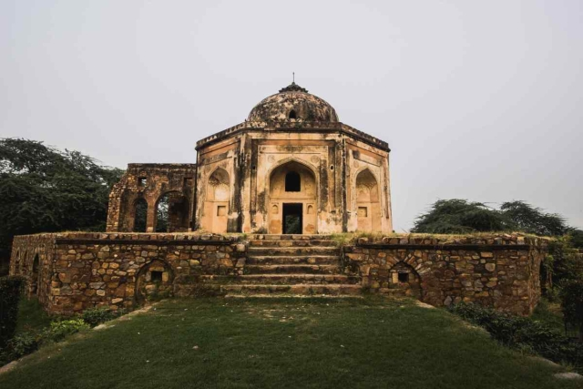 The view from the rear end of the tomb, Mehrauli Archaeological Park.