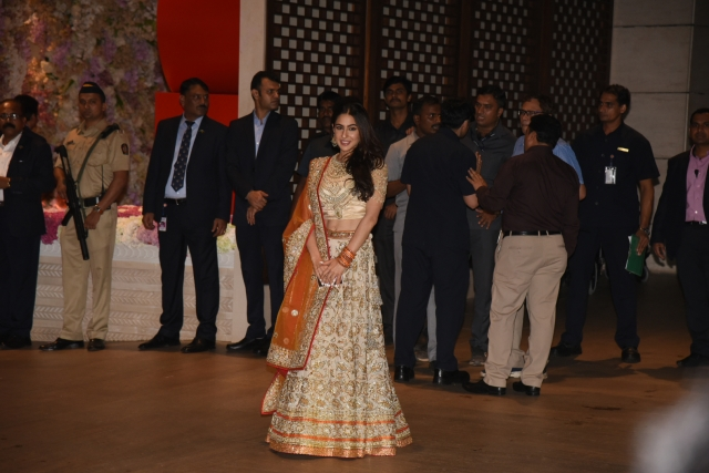 Sara Ali Khan looks resplendent at the engagement party.