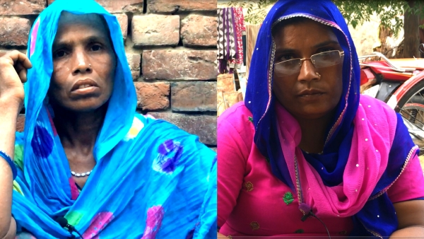 Kanta in blue and Roshni are both single mothers who recall being separated from their sons for almost three months before they were granted bail.