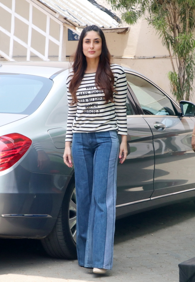 Kareena Kapoor Khan wore flared denims with a striped-t for <i>Veerey Di Wedding </i>promotions.