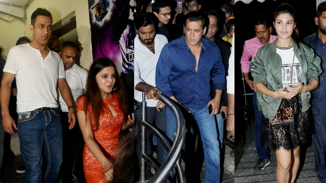 MS Dhoni with wife Sakshi, Salman Khan and Jacqueline Fernandez at the special screening of <i>Race 3. </i>