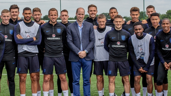 The English football team with Prince William during a training session in England ahead of the 2018 FIFA World Cup.