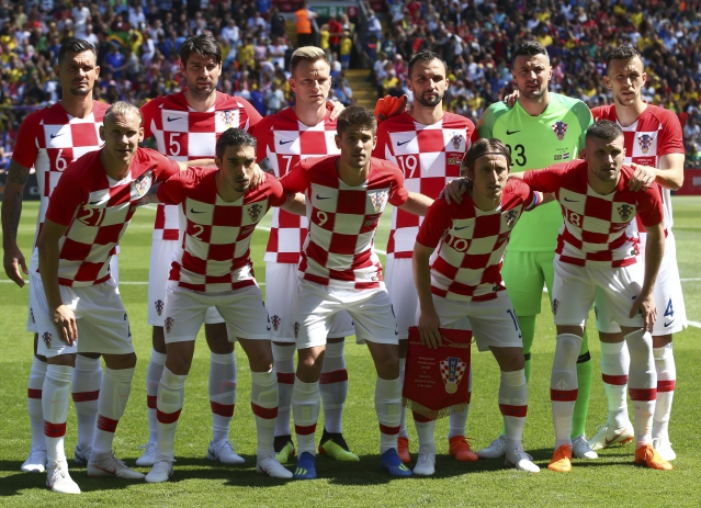 Croatia team poses for photographers prior to the friendly soccer match between Brazil and Croatia.