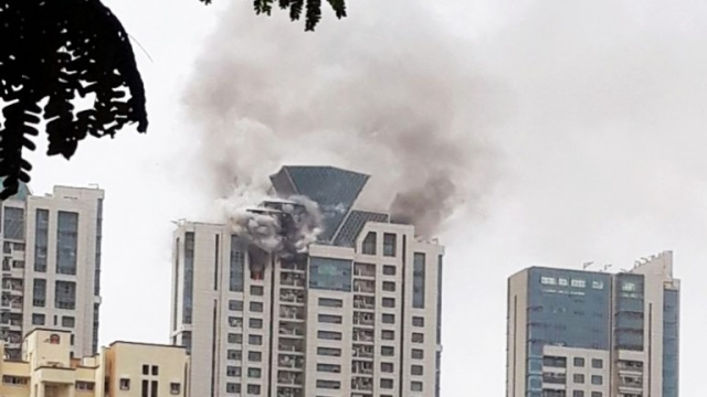 Fire breaks out at a Mumbai high-rise on 13 June.