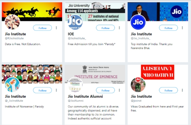 Parody accounts of Jio Institute crop up on Twitter.