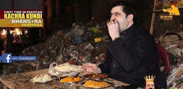 Motiwala eats food near a pile of garbage.
