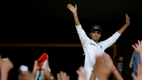India's Sourav Ganguly greets fans from a pavilion after winning the four Test cricket match series against Australia by 2-0 in Nagpur on 10 November, 2008.