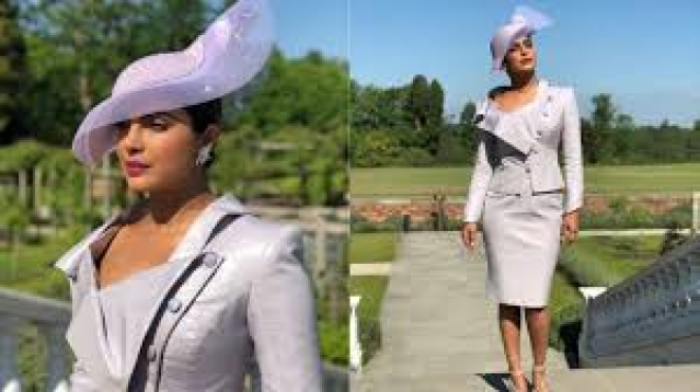 Priyanka Chopra rocked an elegant Vivienne Westwood lilac skirt suit with utmost panache for Harry and Meghan's royal wedding.
