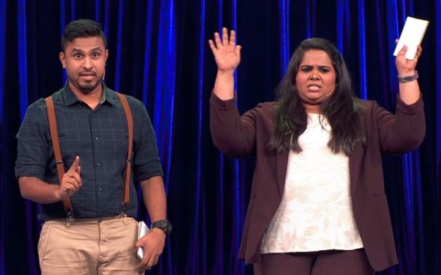 The hosts, Abish Mathew and Sumukhi Suresh.