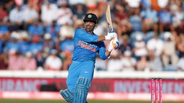 MS Dhoni reached his 10,000th ODI run for India with a single off Jhye Richardson on Saturday.