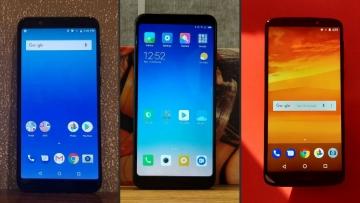 Asus Zenfone Max Pro (left), Redmi Note 5 (middle) and Moto E Plus (right).