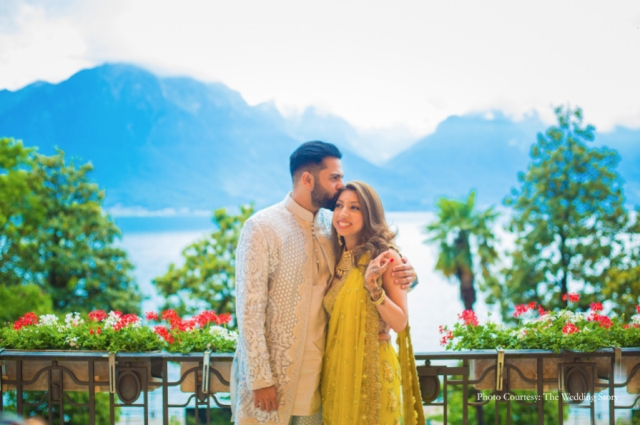 With snow-capped peaks behind you, palm trees in front this picture of the bride & groom during their mehendi makes for such a beautiful photograph!