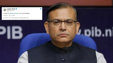 Union Minister Jayant Sinha threw a challenge to Gandhi in a tweet on Thursday, 12 July.