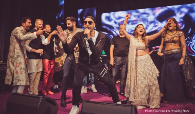 Sukhbir Singh sang for the <i>sangeet</i> and got all the guests on the dance floor.