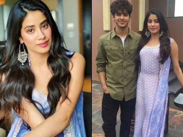 Jahnvi Kapoor's dress featured a geometric print, the extended cape had micro florals and a metallic border, adding a dressy appeal to the ensemble she wore at a promotional event.