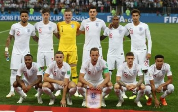 MOSCOW, July 11, 2018 (Xinhua) -- Players of England pose for a group photo prior to the 2018 FIFA World Cup semi-final match between England and Croatia in Moscow, Russia, July 11, 2018. (Xinhua/Xu Zijian/IANS)