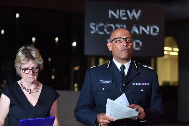 The UK's head of counter-terrorism policing Neil Basu, right, and chief medical officer for England Dame Sally Davies, left.
