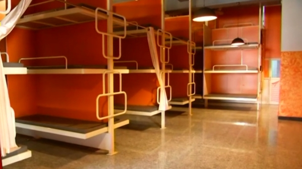 The dormitory boasts of 200 beds and 40 washrooms and resembles train coaches.