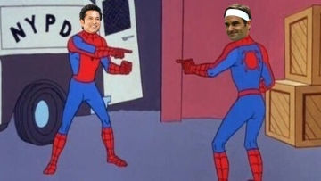The official account of ICC superimposed pictures of Sachin Tendulkar and Roger Federer on a Spider-man meme.