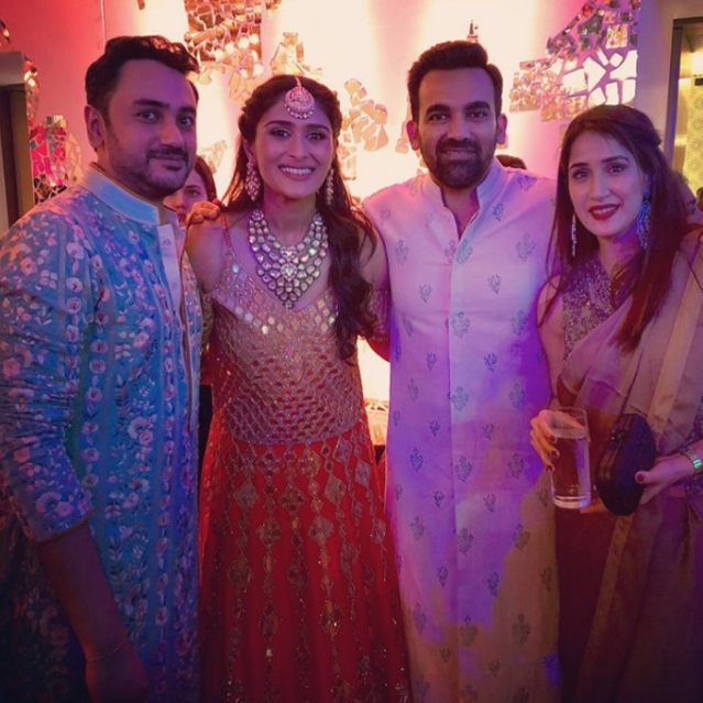 Zaheer Khan and Sagarika Ghatge were spotted with Namit and Poorna during their reception.