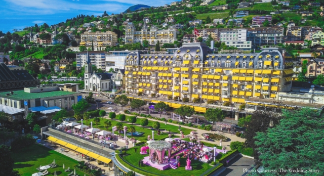 The outdoor space at the Fairmont Le Montreux Palace was decorated in shades of pink and white.