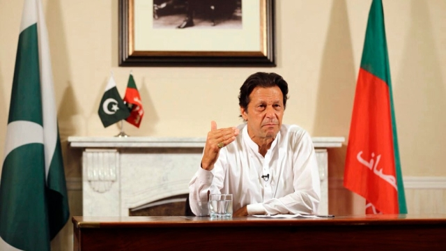 Pakistani politician Imran Khan, chief of Pakistan Tehreek-e-Insaf party, delivers his address declaring victory in Pakistan elections.