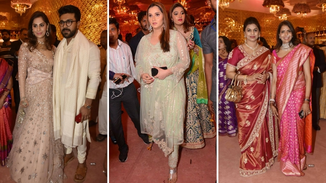 (L to R) Ram Charan and his wife Upasana, Sania Mirza, Pinky Reddy  poses with Sangita Reddy during Shriya Bhupal and Anindith Reddy's wedding ceremony.