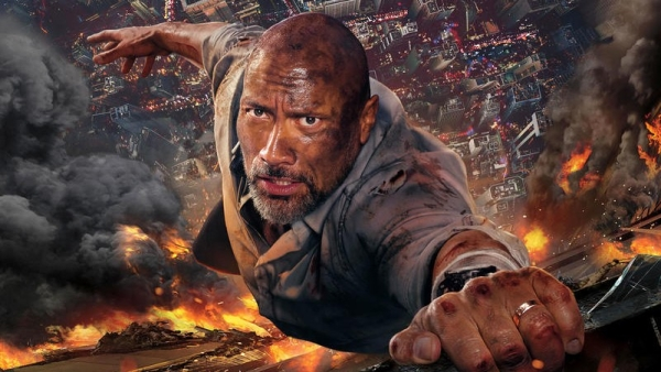 Dwayne Johnson in <i>Skyscraper</i>.