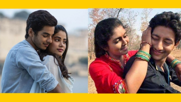 The two lead pairs of <i>Dhadak</i> and <i>Sairat</i>, respectively in stills from the posters.