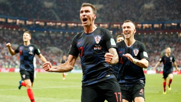 Croatia's Mario Mandzukic celebrates after scoring his side's second goal against England.