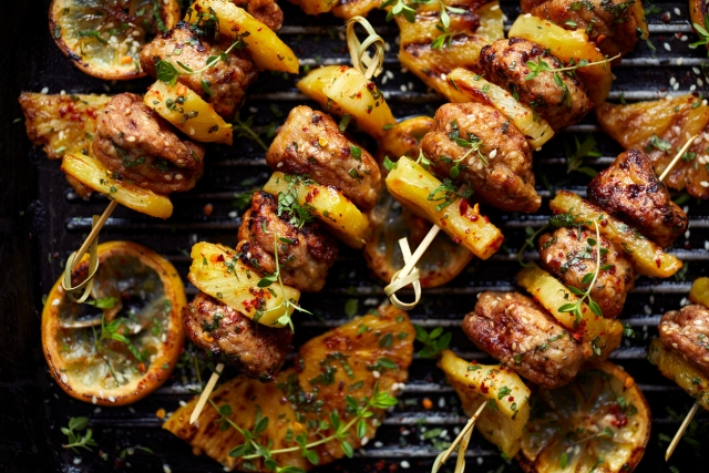 Shashlik is a shish kebab made by grilling chunks of meat over an open fire with herb leaves tossed in to enhance the flavour.