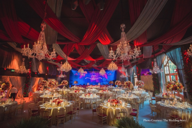 For the reception, several crystal chandeliers lit up the ballroom in an ethereal glow.