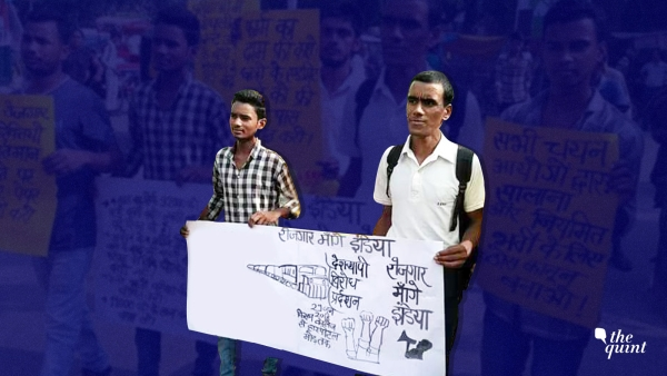 Protests by AISA-backed group, 'Rozgar Mange India' against delay in exam date by the Railway Recruitment Board.