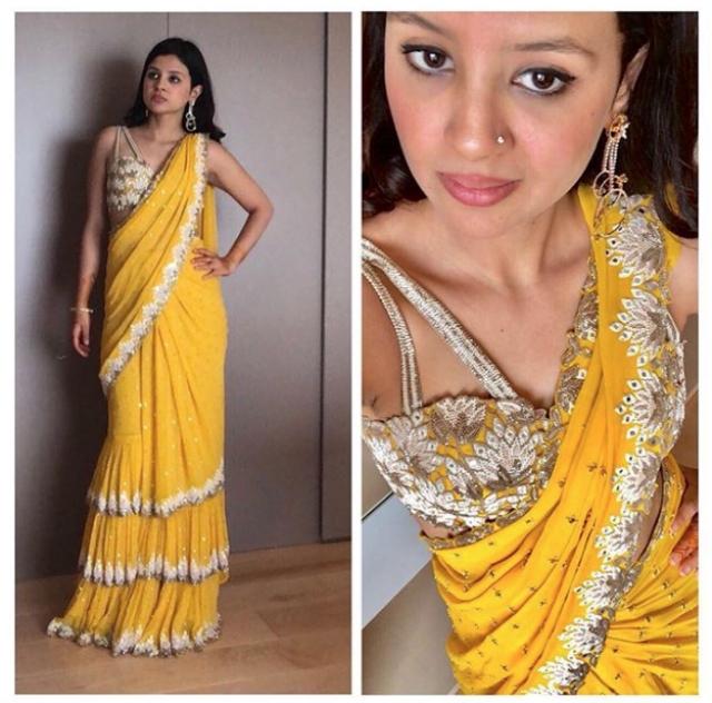 Sakshi Singh Dhoni kicks off her bestie's wedding celebrations in a sunshine yellow customised Arpita Mehta ensemble.