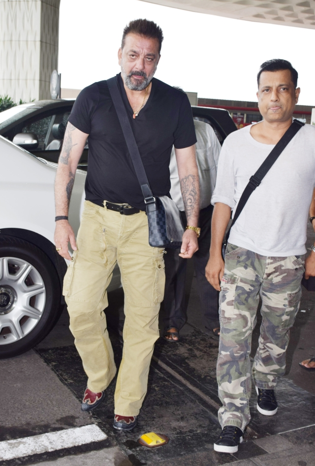 Sanjay Dutt was spotted with bestie Paresh Ghelani at Mumbai airport.