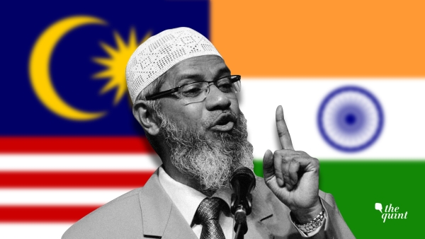 Image of Islamic preacher Zakir Naik used for representational purposes, against background of Indian and Malaysian flags.